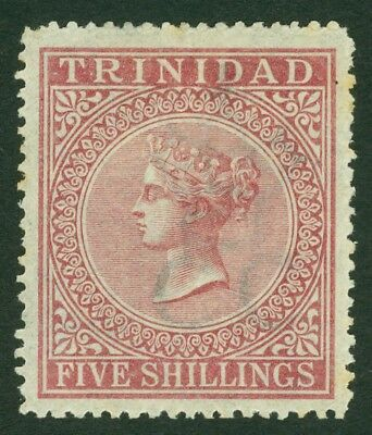 SG 87 Trinidad 1869. 5/- rose-lake, perf 12½. A fine mint example without gum...
