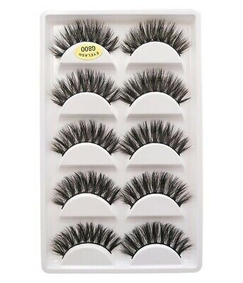 5 Pairs 3D Mink Eyelashes Thick Handmade Natural False Lashes Wispy New Styles