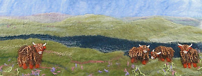 Scottish Picture Felt Kit with Highland Cattle and with online tutorial