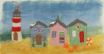 Beach hut Picture Felt Making Kit with lighthouse and with online tutorial