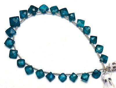 "Natural Gem Neon Blue Apatite 6 to 8MM Faceted Cushion Shape Beads 7.5"" Strand"