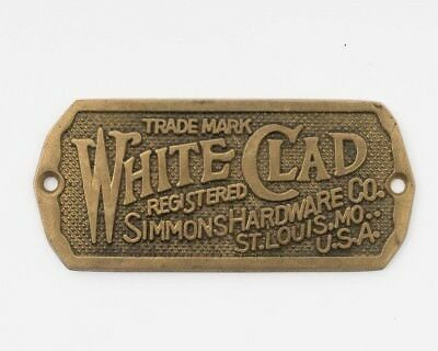 "Vintage White Clad Simmons Hardware Co. Solid Brass Ice Box Plate 3.5"" x 1.5"""