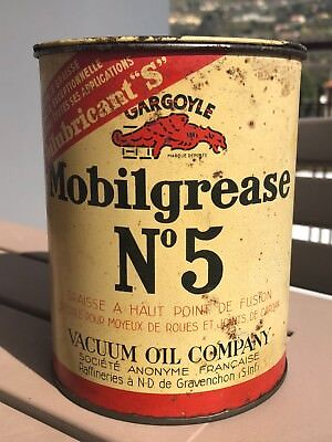 MOBILOIL GARGOYLE MOBILGREASE VINTAGE 1940s TIN CAN ANTIQUE GARAGE SIGN OIL