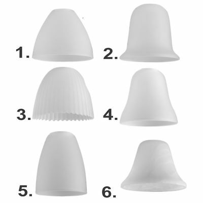 3 x White Glass Ceiling Light Designer Shade Fitting Frosted Lamp Replacements