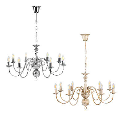 Large Modern /  Traditional 8 Way Ceiling Chandelier Light Fitting + LED Bulbs