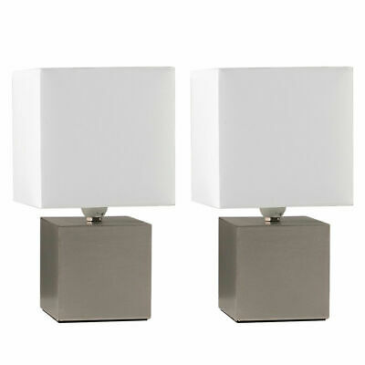 Pair of Modern Brushed Chrome Touch Cube Bedside Table Lamp + LED Light Bulb