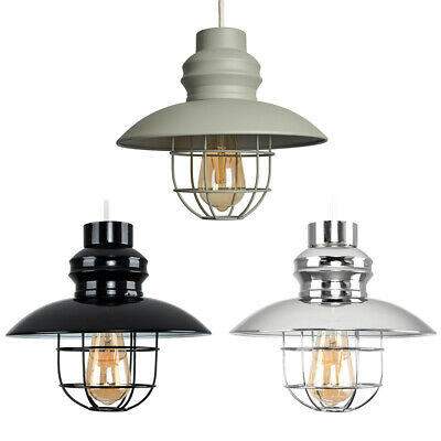 Vintage Industrial Style Metal Fishermans Cage Ceiling Pendant Light Lamp Shades