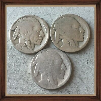 🇺🇸 Lot Of 3 USA Buffalo five cents nickels Coins-no Dates  #998