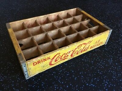 Vintage Coke crate Wood yellow with 24 dividers