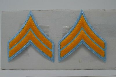 1 Pair CORPORAL CPL. Police Security Chevrons Stripes Patch GOLD ON LIGHT BLUE