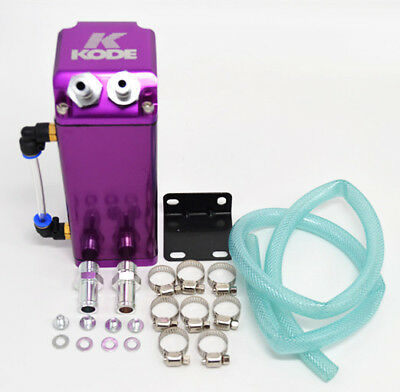 Kode-Purple Universal Alu. Square Oil Catch Tank Breather Can 9mm &15mm Fittings