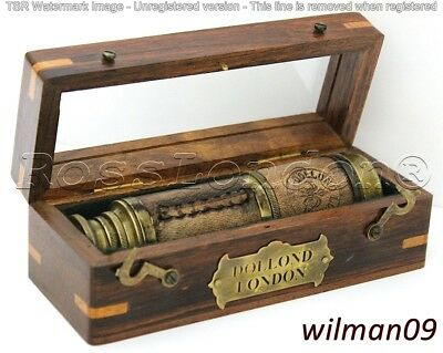 "Nautical Marine Spyglass Brass 16"" Telescope with wooden case-High Quality lens"