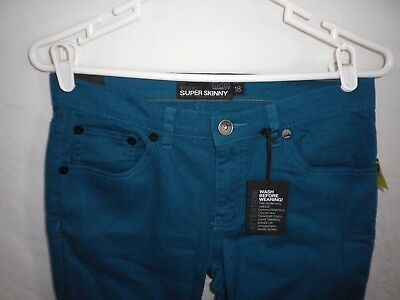 RSQ Tokyo Super Skinny Jeans Boys Size 18 Turquoise Blue-Green NWT