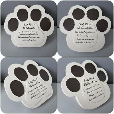 Pet Memorial Remembrance Stone Effect Paw Sadly Missed Special Dog Beloved Cat