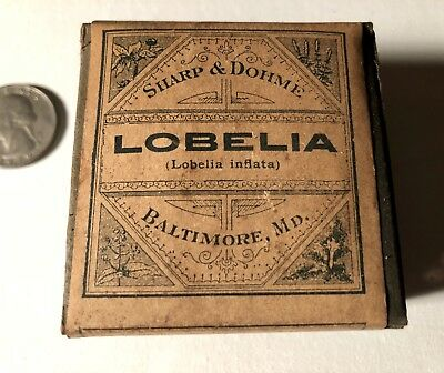 "Antique Medicine Sharp & Dohme "" Lobelia"" Antique Apothecary Box Sealed"