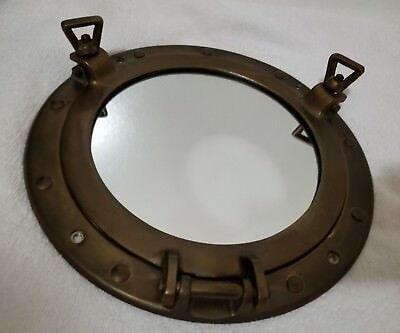 "11"" VINTAGE BRASS NAUTICAL PORTHOLE MIRROR MARITIME HINGED (Pre-Owned)"