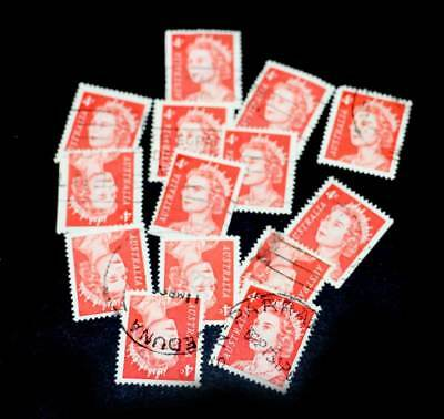 BULK LOT 14 x Australia 4d red 1966 Queen Elizabeth  USED unhinged stamp stamps