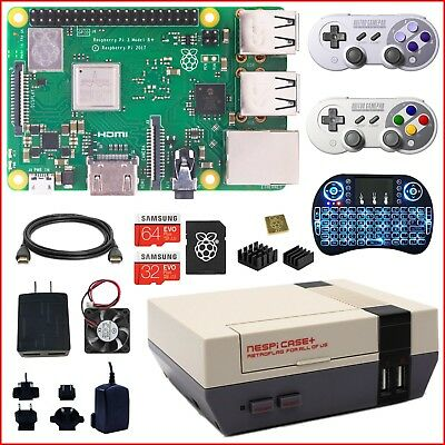 2018 Raspberry Pi 3 B+ (B Plus) NESPi Case+ Wireless Pro Kit (Lot)