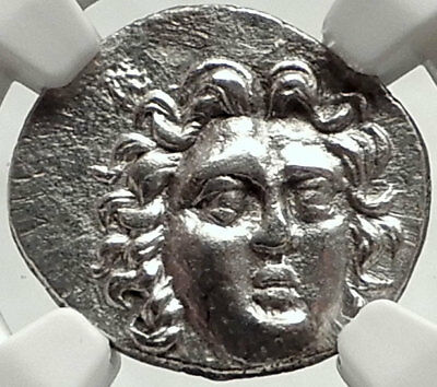 RHODES Caria Island Ancient Silver Greek Coin Helios of COLOSSUS  NGC MS i68140