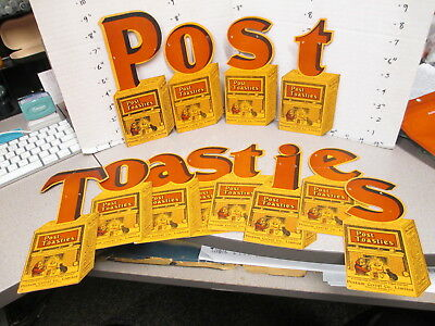 POST TOASTIES 1920s cereal box string hang store display sign fireplace girl cat