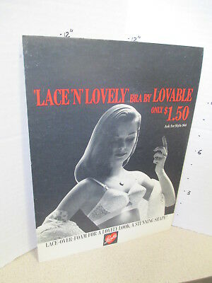LOVABLE LACE lingerie bra vintage gorgeous pinup girl 1950s store display sign
