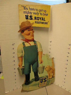 US ROYAL rubber work boot 1950s ad character overalls kitten store display sign