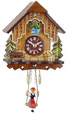 Engstler 0186 Sq Miniature Black Forest Clock with Battery-Powered Quartzwerk