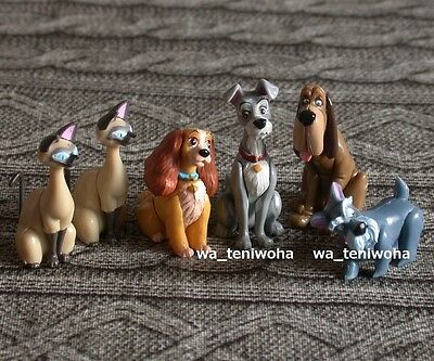 New Set -Lady and the Tramp- 6 Figures Si Am 2P Disney Choco Egg Cat Dog Easter