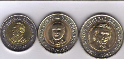 3 UNCIRCULATED BI-METAL COINS from ECUADOR - 100, 500 & 1000 SUCRES (ALL 1997)
