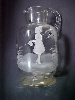 Antique Victorian Mary Gregory Glass Ribbed Pitcher: Girl w Watering Can