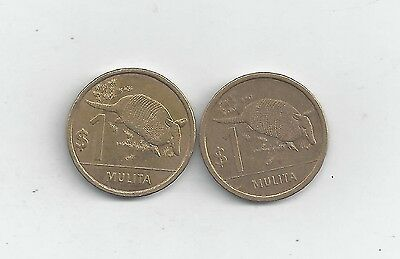 2 DIFFERENT 1 PESO COINS w/ ARMADILLO from URUGUAY DATING 2011 & 2012
