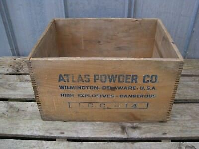 Vintage Atlas Powder Co High Explosives Dynamite TNT Wood Box Wooden Crate B8257