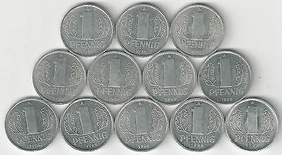 12 - 1 PFENNIG COINS from EAST GERMANY (1977/78/79/80/81/82/83/84/85/86/88/89)