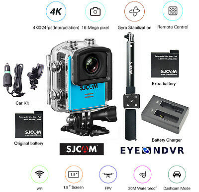 SJCAM M20 16MP Camera extra Battery, ST Remote, Charger, Car Kit, M20-BLU-STCHCK
