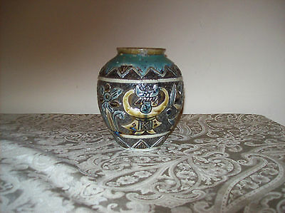 "Antique Clay Vase Imperfect with Forklore Art 6.25"" Tall"