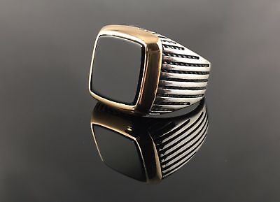 Turkish Handcraft  925 Sterling Silver Jewelry Onyx Gemstone Men's Ring
