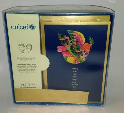 Unicef Peace on Earth Holiday Christmas Cards Box of 24 - New Dove Peace Cards