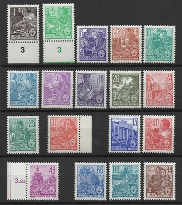 Germany DDR 1953-1954 Sc# 187-204 Mint MNH five years plan worker ship stamps