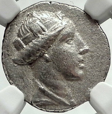 AMISOS in PONTUS 300BC RARE R1 Ancient Silver Greek Coin HERA OWL NGC AU i68161