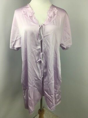 Cinema Etoile Womens Robe Tie Front Purple Satin Embroidered Floral Size Medium