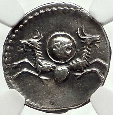 Divus VESPASIAN 80AD Ancient Silver Roman Coin of TITUS w CAPRICORNS NGC i68164