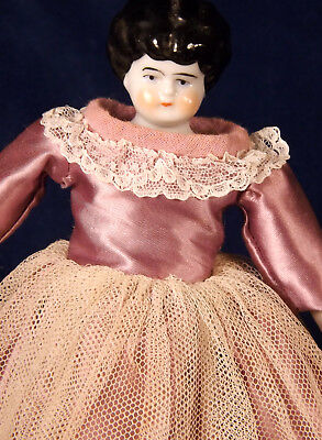 """GERMAN CHINA HEAD DOLL 10"""" Black Hair Low Brow China Limbs Old Gown Brown Shoes"""