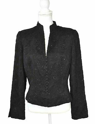Carmen Marc Valvo Beaded Black Blazer Designer Evening Wear Jacket Size 14