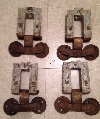 Set of 4 Antique Vintage Industrial Cast Iron Barn Door Hardware Steampunk