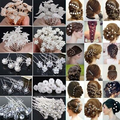 20/40Pcs Wedding Bridal Pearl Flower Crystal Hair Pins Clips Bridesmaid Lot