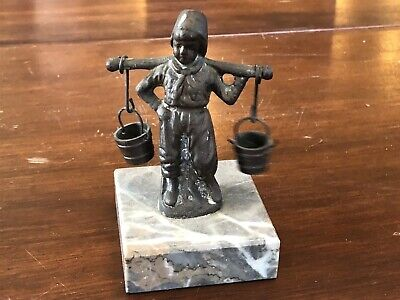 Vintage Brass or Bronze Figure Boy w/ Well Buckets, marble base 4""