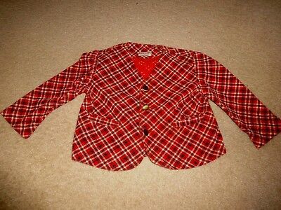 Vintage Twiglings for Toddler Red Plaid Corduroy Blazer Jacket Size 3T