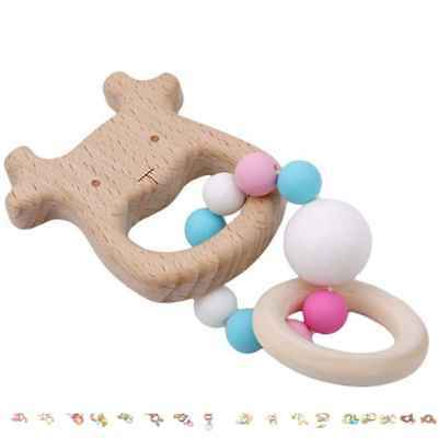 Handmade Natural Wooden Baby Teether Bracelet Animal Shape Teething Ring Beads
