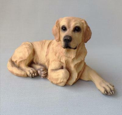 "14"" Creative large Resin Lifelike Golden Retriever Statue Figure Sculpture"