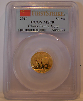 China 2010 Gold 1/10 oz Panda 50 Yuan PCGS MS-70 First Strike